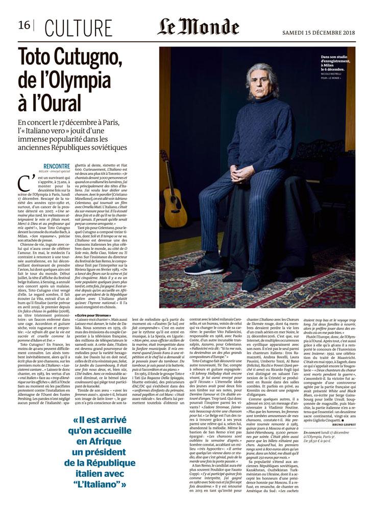 Le Monde incontra Toto Cutugno